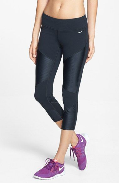 Free shipping and returns on Nike 'Strut' Dri-FIT Crop Tights at Nordstrom.com. Designed specifically for running, these moisture-wicking cropped tights feature a wide waist and are traced by body-mapped, articulated seaming and zoned panels of ventilating mesh to ensure you stay cool while on track or trail.