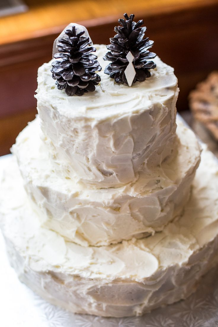 Unique pine cone wedding cake toppers (Deep Blue Photography)