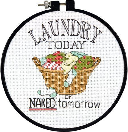 Dimensions Laundry Today Learn-A-Craft - Beginner Cross Stitch Kit. With its humorous sentiment, Laundry Today is a fun way to get the family to pick up their c