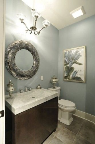 Magnetic Gray 7058 by Sherwin Williams - powder room wall color