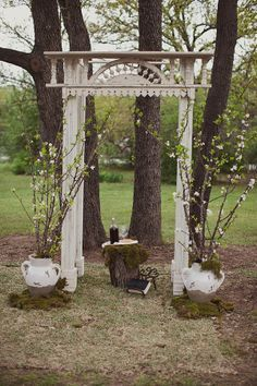 Wedding ceremony decorations. A vintage door frame for an arch.