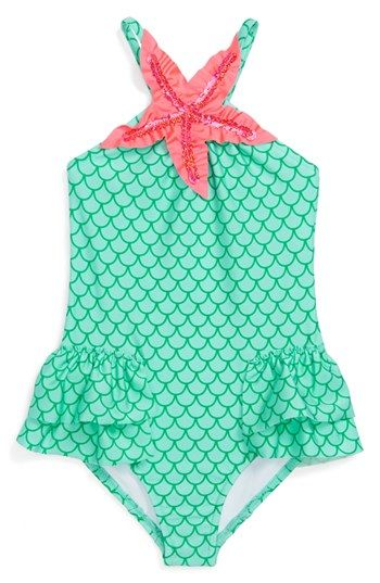 Sophia needs this! Love U Lots 'Mermaid' One-Piece Swimsuit (Toddler Girls) available at #Nordstrom