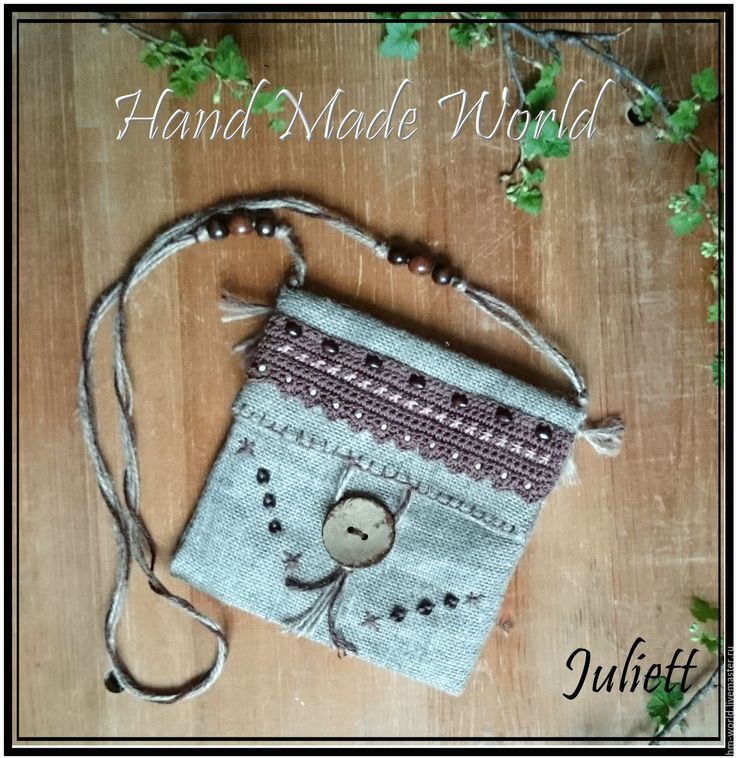 Купить Мини сумочка из мешковины - коричневый, мешковина, сумочка, сумка через плечо, сумочка для телефона