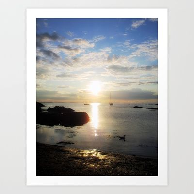 OCEAN SUNSET AND SAILBOAT Art Print by Diane Perkins Photography - $16.00
