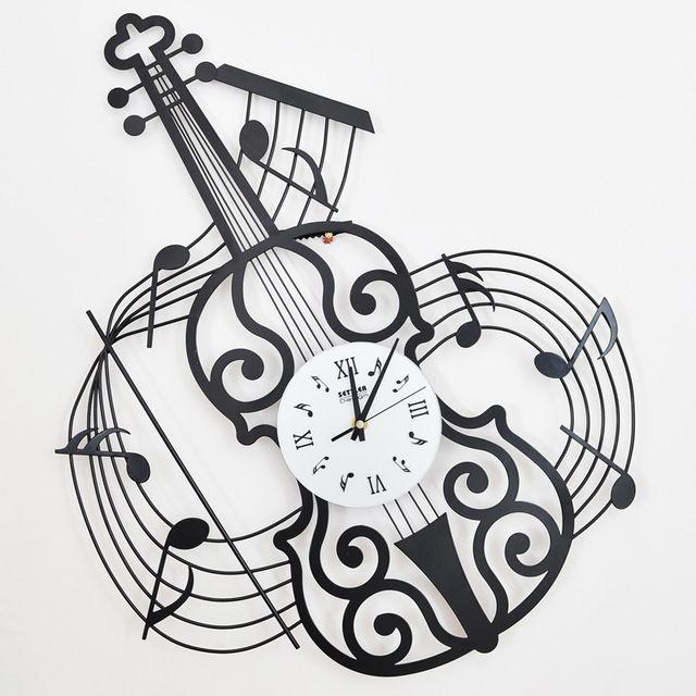 Colono drow moda musica orologio da parete violino orologio in ferro battuto muto orologio della decorazione della moda