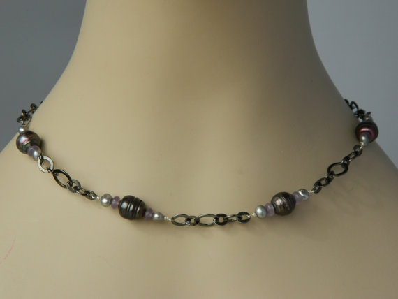 Chalcedony, Pearl and Gun Metal Necklace        http://www.etsy.com/listing/94599180/chalcedony-pearl-and-gun-metal-necklace