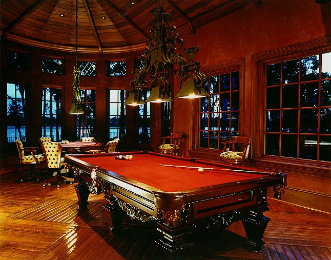 Regulation billiards table-burgundy felt-leather pockets