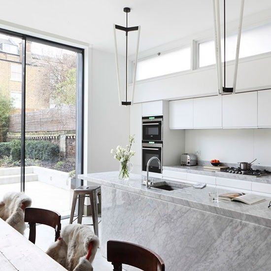 18 best images about marble in the kitchen on pinterest - Stylishly modern kitchen islands additional work surface ...