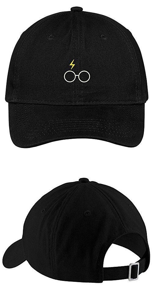 9231c831c Harry Potter Glasses Embroidered Soft Cotton Adjustable Cap Dad Hat - Black