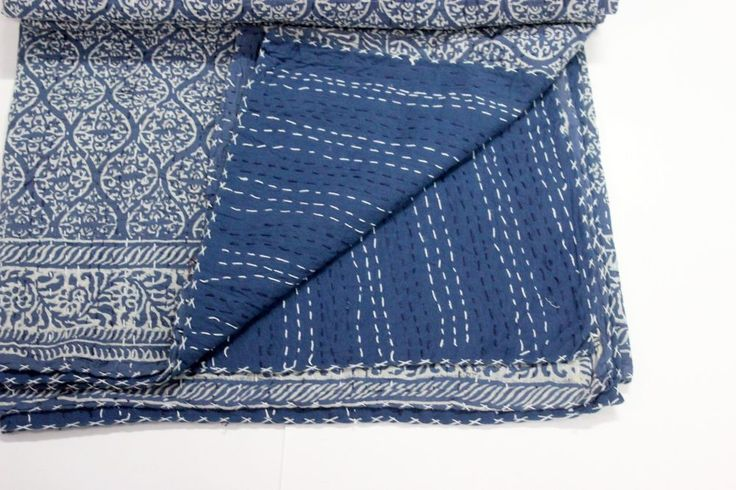 Item - Indian Cotton fabric indigo Blue Bed cover, Kantha Quilted sheet. Usage - Sheet, Throw, Speared. Made in indian pure cotton with Hand Block Print and dyed. Material - 100% Cotton Fabric. | eBay!