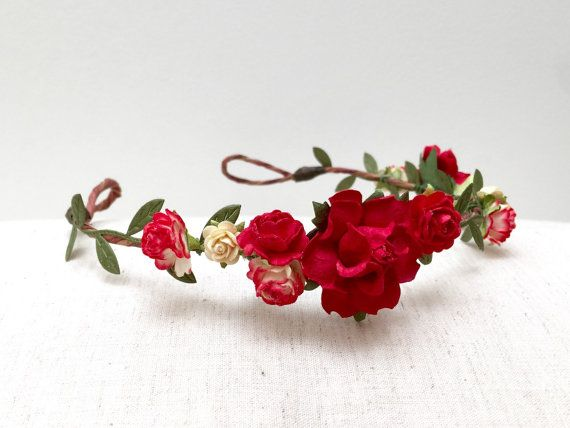 Red rose flower crown headband/ wedding bridal by AbbeysBlooms