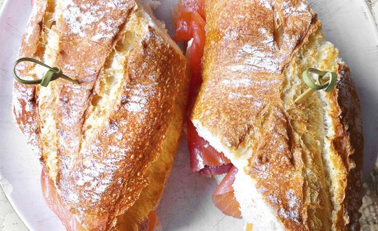 Smoked Salmon Tomato Baguette This simple smoked salmon sandwich with a touch of Japanese mayo is hard to resist.