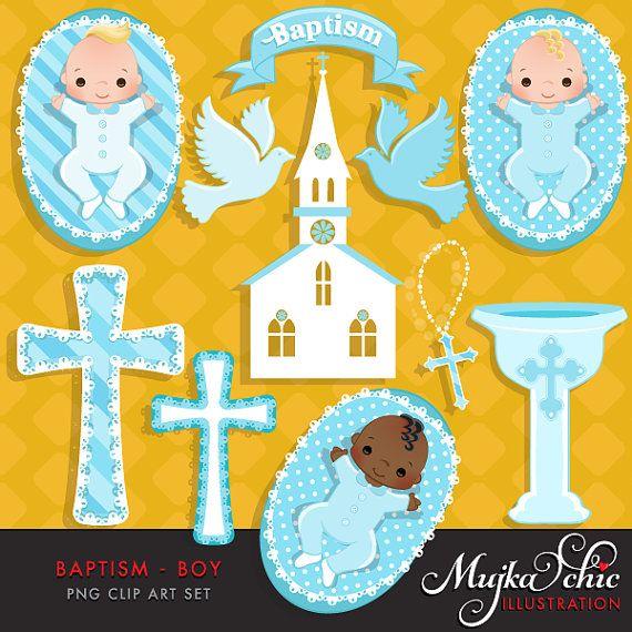 Battesimo del bambino ragazzo Clipart con simpatici bambini, Chiesa, colomba, Rosario e croce grafica grafica grafica di battesimo scaricare Instant.