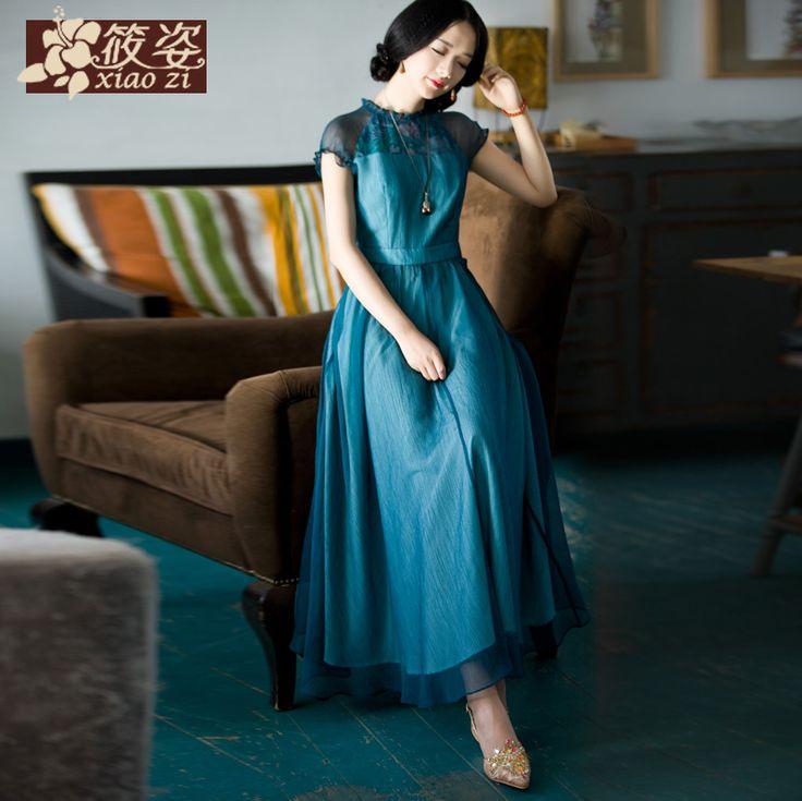 Doamnelor retro Xiao Zi 2015 primăvară nouă sprancene femei cinabru sifon imprimare rochie talie
