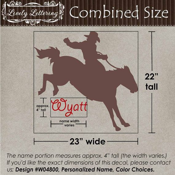 Name with Cowboy Bronco Horse wall decal boys by LivelyLettering