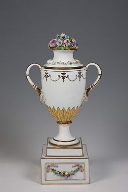 Vase with a stucco bouquet, 1780s, Porcelain, biscuit, stucco, overglazing polychromatic painting; gilding, diverging pattern, Copyright © State Hermitage Museum