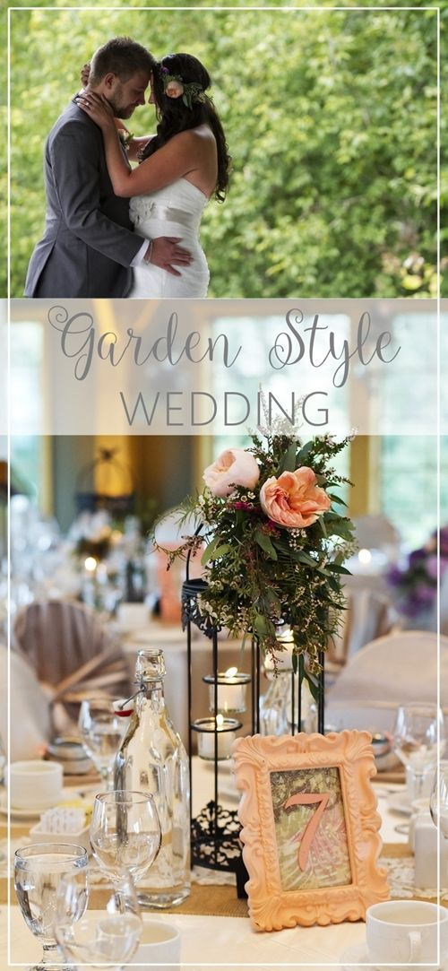 Garden style wedding with purple and peach details - birdcage centerpieces, DIY table numbers and photos in a covered bridge.http://www.theweddingguru.ca/garden-style-wedding/  Photos by Jeremy Hiebert Photography. #gardenwedding