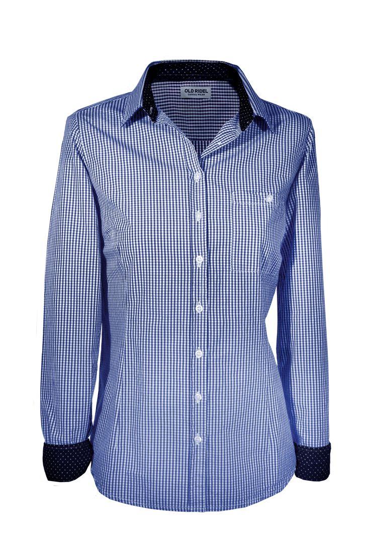 camisa mujer cuadros vichy azul con detalles en el cuello y puños azul marino y topos blanco. www.oldridel.com