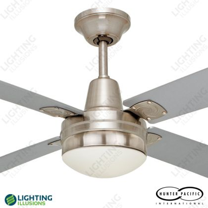 "Brushed Chrome Typhoon Timber 48"" Ceiling Fan + E27 Eclipse Light - Shop - Lighting Illusions Online"