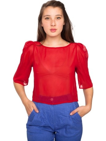 Red Chiffon Blouse