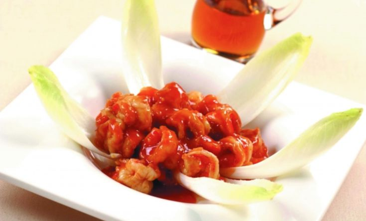 INGREDIENTS: 250 g shrimp (about 15 g per shrimp) 1 tablespoon sake 1 tablespoon soy sauce 1 teaspoon Toubanjan (Chinese chili bean paste) 1/2 scallion (minced) 10 g ginger (minced) 1 clove garlic (minced) 2 tablespoons Canadian maple syrup (light) 2 tablespoons sake 200 ml stock 3 tablespoons ketchup 1/4 teaspoon salt 1 head endive... Read more »