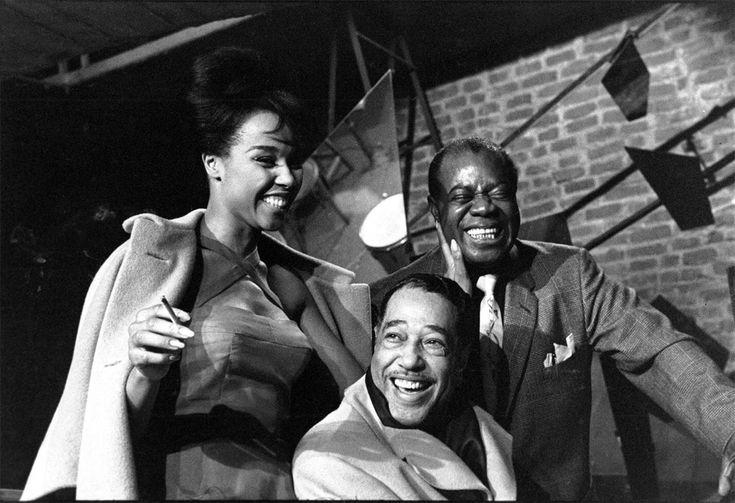 Herman Leonard Duke Ellington, Louis Armstrong & Diahann Carroll, Paris, France, 1960 - gelatin silver prints