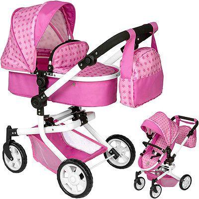 Bayer Chic 2000 Puppenwagen Mika 2in1 Sternchen Zubehör Wickeltasche rosa Buggy