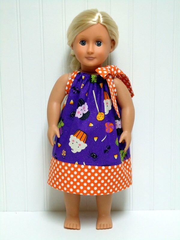 18 inch Doll Clothes Halloween Pillowcase Dress Purple Cupcake Candy Orange Polka Dot 15 inch Doll Clothes by WendysWhimzies on Etsy https://www.etsy.com/listing/201734231/18-inch-doll-clothes-halloween