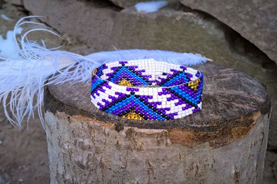 Violet Native Amerika parel armband, paarse Bead Loom armband, Loom parel armband, Native Amerika sieraden, Native Amerika parel sieraden