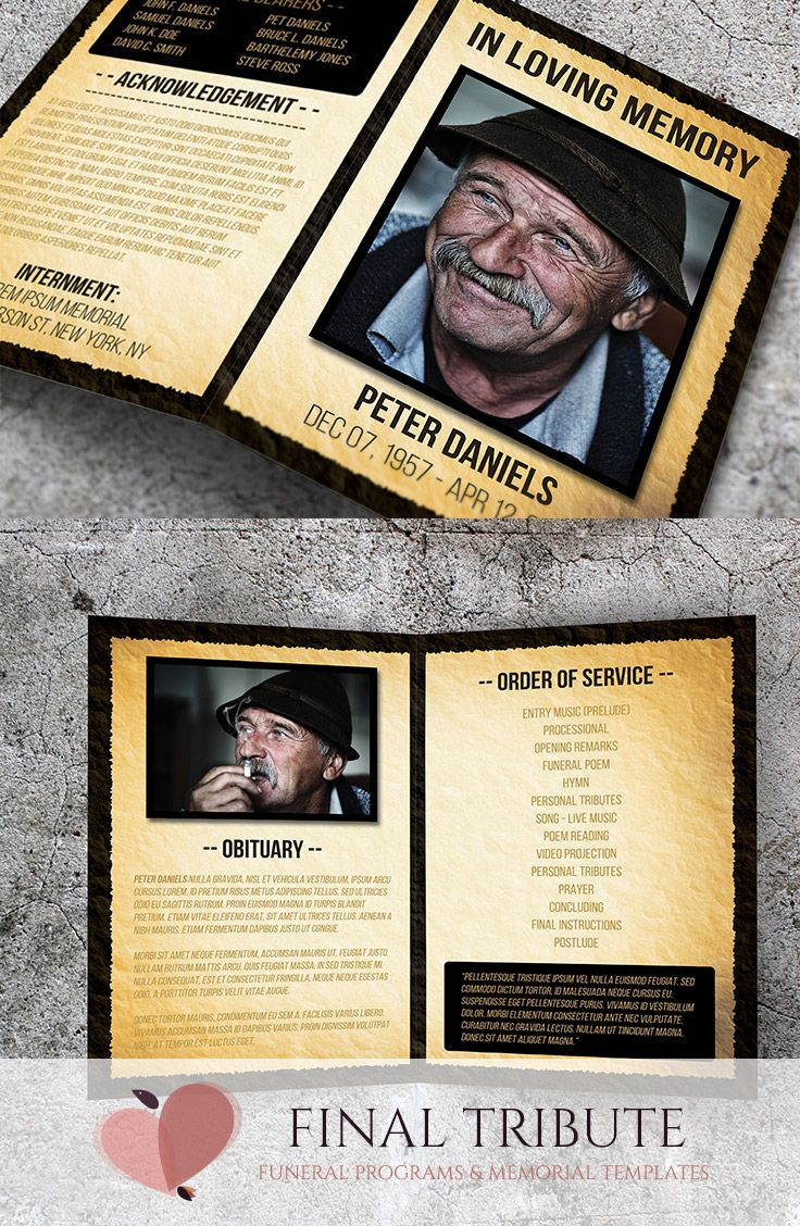 in memory cards templates - a special memory an unconventional memorial card template