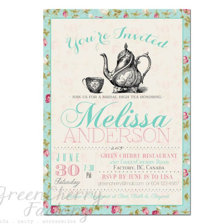 Tea Party Invitation Template Free – Tea Party Invitations Free Template
