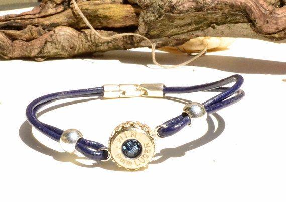 Bala joyas - pulseras de conchas carcasa - correa de cuero azul oscuro - plata esterlina