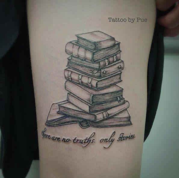 Book Tattoo Design by Saklai Tattoo