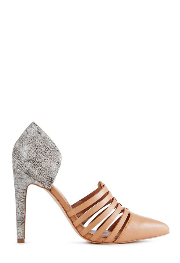 Oh, so sophisticated, Margeaux is a mixed material pump with strapped detail on the vamp. Faux leather and textured faux snake. ...