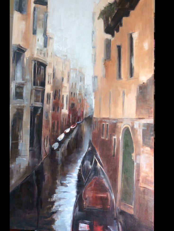 Venice waterway. Oil on canvas Painting by Rani Pillay