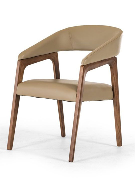 Decca Taupe Leather Chair | Modern Furniture • Brickell Collection