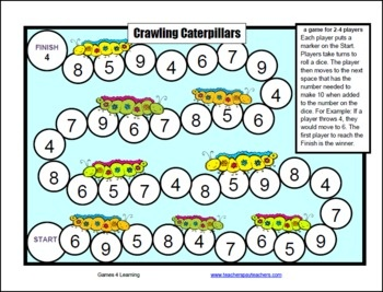 Addition with cute caterpillars. The Crawling Caterpillars Addition Game from Games 4 Learning is for 2 - 4 players to practice addition combinations that add to 10. Part of the Addition Board Games Collection. $