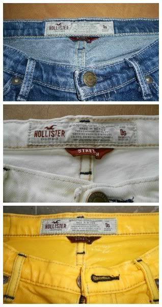 Bleek en verf een jeans opnieuw. Let op; garen is vaak kleurecht en blijft in de originele kleur !!!