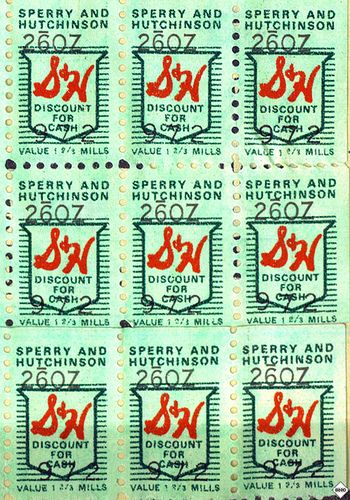 S Green Stamps - I remember my mom asking us to lick & stick the stamps into little booklets, which were redeemed for goods at a redemption center.