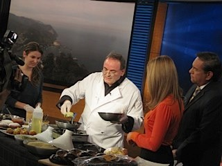 Alain Cohen on KCAL 9 News cooking Latkes! Happy Hanukkah! Watch the full segment at http://www.youtube.com/watch?v=5OuDJMrixl4