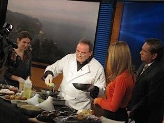 Alain Cohen on KCAL 9 News cooking Latkes! Happy Hanukkah! Watch the full segment at http://www.youtube.com/watch?v=5OuDJMrixl4