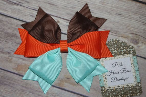 Brown orange and aqua hair bow  Big Hair by PinkHairBowBoutique