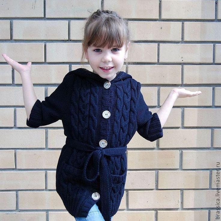 Купить Кардиган детский вязаный темно-синий - кардиган, вязаный кардиган…