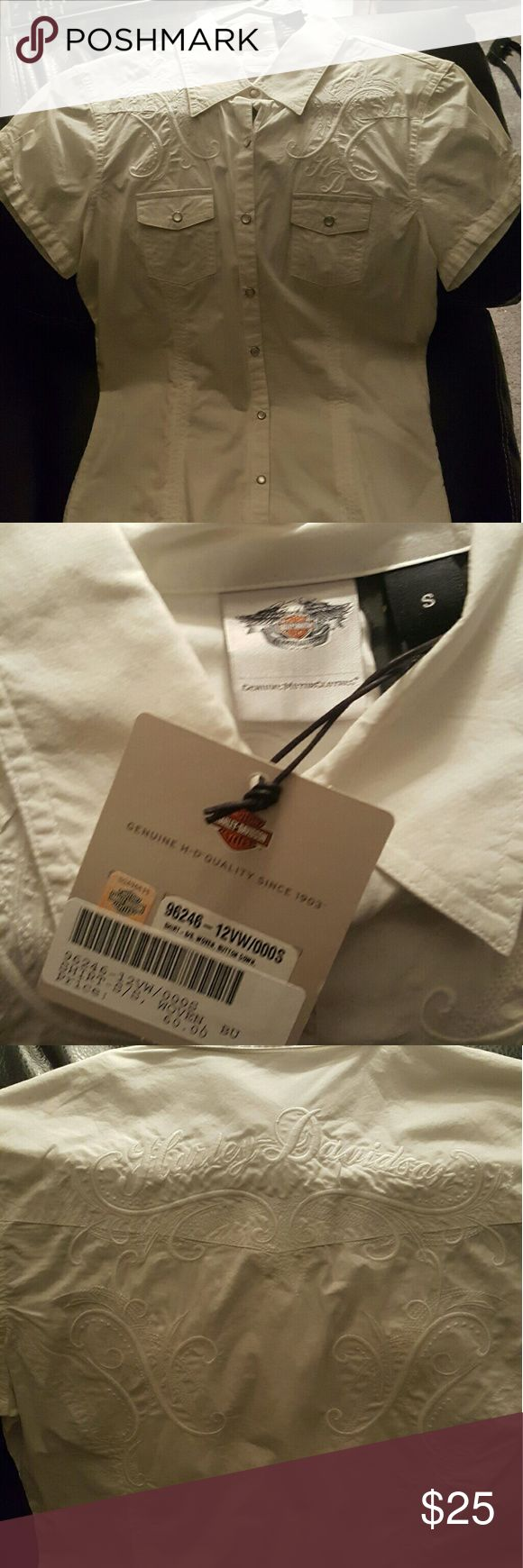 Harley Davidson Shirt from the Harley Store Brand new with tags, white Harley Davidson Shirt size small in women's. Harley-Davidson Tops