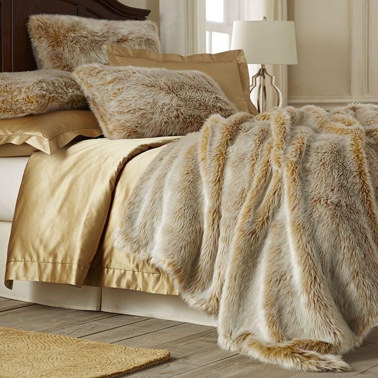 We re not sure where the line between luxury and pure decadence is  but  it s probably covered by Pier Gold Ombre Faux Fur Blanket and Shams. 59 best images about Make the Bedroom on Pinterest   Queen