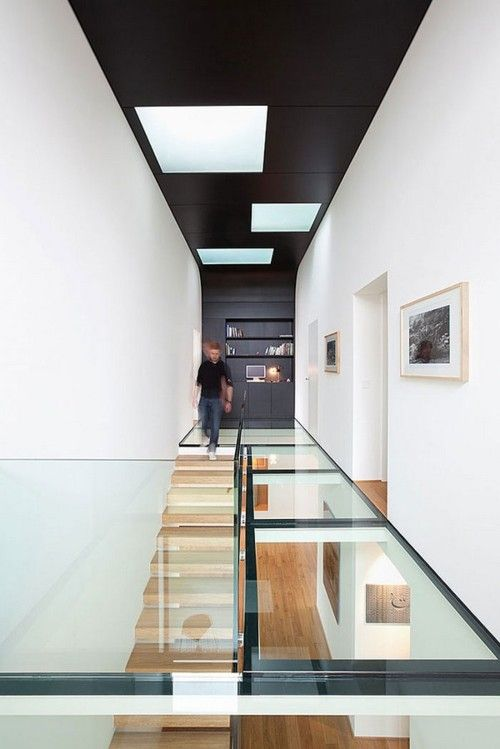 glass mezz and black ceiling