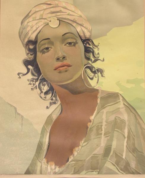Aleksander LASZENKO ,Portret dziewczyny w stroju orientalnym, drzeworyt kolorowany, papier, 50 x 40,5 cm w świetle passe-partout