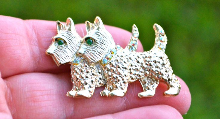 SPRING SALE TERRIER Dog Brooch Pin Vintage Double Dog Brooch Pin Gold Tone with Light Green Peridot Rhinestone Collars and Eyes by StudioVintage on Etsy