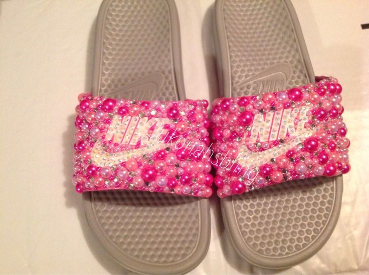 A personal favorite from my Etsy shop https://www.etsy.com/listing/289735653/bling-nike-slides-nike-shoes-accessories