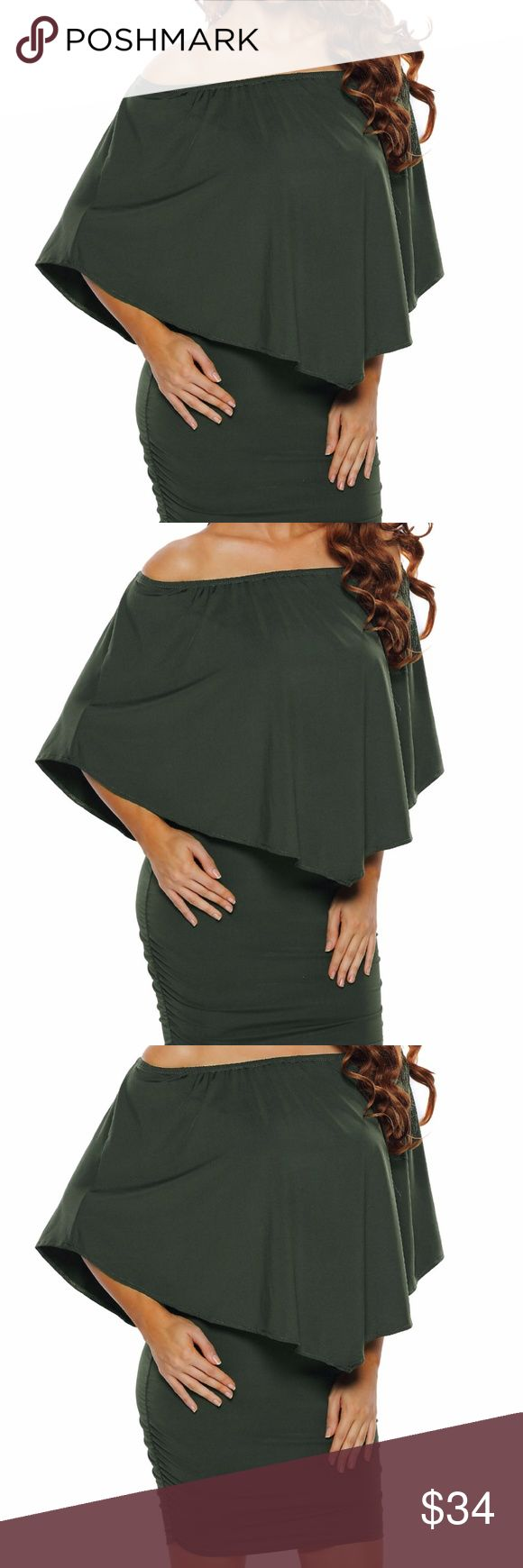Multiple Layered Army Green Mini Dress This Multiple Layered Mini Dress can be worn at the office or for a night out at a bar right after! The cute ruffle-layer top gives an  elegant, cute feel to the comfortable and over sized dress. The short length accentuates your curves with body-hugging silhouette, you are  sure to feel confident, sexy and elegant no matter the occasion.  22820-9 Dresses Mini